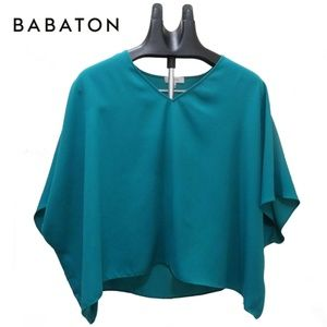 Babaton Aritzia Blouse Turquoise Teal Color V-Neck